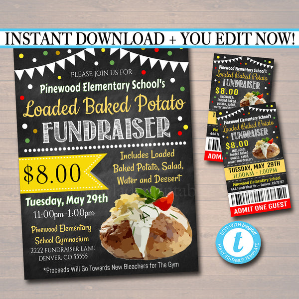 Loaded Baked Potato Fundraiser Flyer Ticket Set - Editable Template