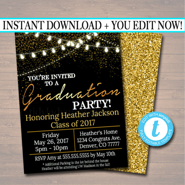 Graduation Party Invitation, High School Graduation Invitation, DIY  Invite, College Graduation Invitation, Graduation Decor