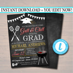 Editable BBQ Graduation Invitation Chalkboard Printable Digital College Grad Invite, Guy, Man Senior Grad Party, Grill & Chill BBQ Invite