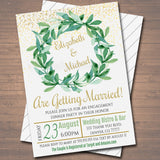 EDITABLE Engagement Party Invitation, Bridal Couples Shower Invite, Boho Wedding Watercolor Botanical Minimalist Greenery, INSTANT DOWNLOAD