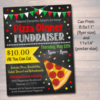 Pizza Dinner Fundraiser Flyer Ticket Set - Editable Template