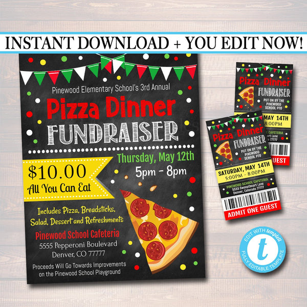 Pizza Dinner Fundraiser Flyer Ticket Set, pto pta, Church Community School Benefit Event, Italian Dinner Benefit