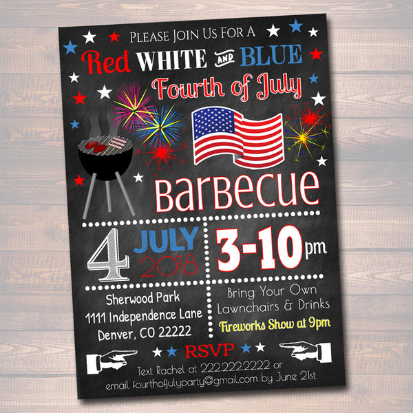 EDITABLE Fourth Of July Party BBQ Picnic Invitation