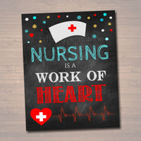 Nurse Graduation Party Signs, Chalkboard Printable, RN, Lpn College Graduate, Medical Grad Decorations, Party with a Nurse