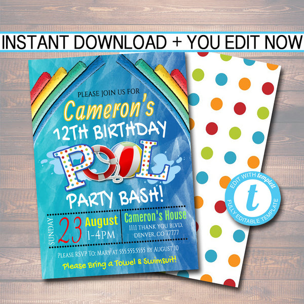 EDITABLE Pool Party Invitation, Printable Digital Invite, Summer Back to School Backyard Party, Boy Pool Birthday Party, INSTANT DOWNLOAD
