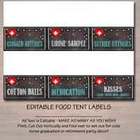 Nurse Food Tent Labels, Printable Party Decor, Graduation Chalkboard Printable, Retirement Party, Nurse RN Invite,