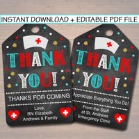 Printable Nurse Thank You Tags, Nurse Appreciation Week Gift INSTANT + EDITABLE, RN Nurse Graduation Retirement Favor Label Tag Digital File