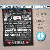 EDITABLE Nurse Retirement Gift, Chalkboard Printable Nurse Poster Sign, RN Retirement Gift, Doctor Physician Prescription for Retirement