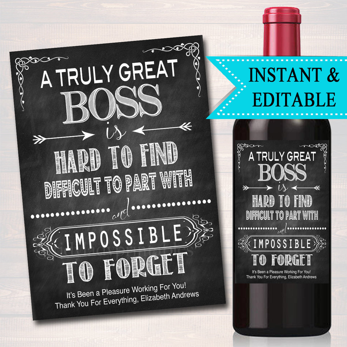 Editable Boss Gift, A Truly Great Boss is Hard to Find ...