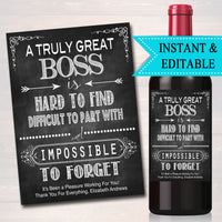 Editable Boss Gift, A Truly Great Boss is Hard to Find, Impossible To Forget, Manager Supervisor, Farewell Parting Gift, Goodbye Retirement
