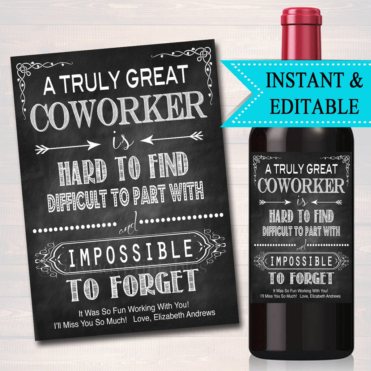 Wedding Gift Ideas For Coworker: Editable Coworker Gift A Truly Great Coworker Is Hard To