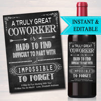 Editable Coworker Gift A Truly Great Coworker is Hard to Find Impossible To Forget, Boss Friend Colleague Friend Farewell Goodbye Retirement
