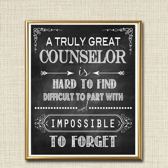 Counselor Gift, A Truly Great Counselor is Hard to Find, Impossible To Forget, School Therapist Thank you, Retirement Chalkboard Printable