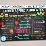 EDITABLE Candy Sweet Theme Teacher Appreciation Week, Itinerary Poster Digital Schedule Events INSTANT DOWNLOAD pto pta Fundraiser Printable