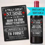 Editable Nurse Gift, A Truly Great Nurse is Hard to Find Impossible To Forget, RN Lpn Bsn Medical Schol Nurse Farewell Goodbye Retirement