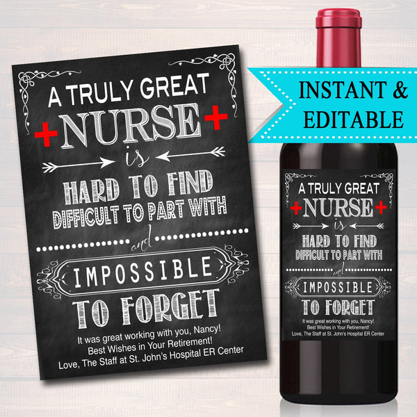 Nurse Gift, A Truly Great Nurse is Hard to Find Impossible To Forget, RN Lpn Bsn Medical Schol Nurse Farewell Goodbye Retirement