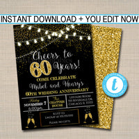 EDITABLE 60th Party Invitation, Birthday Printable Cheers to Sixty Years, Digital 60th Wedding Anniversary Invite, Black & Gold Party