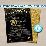 EDITABLE 70th Party Invitation, Birthday Printable Cheers to Seventy Years, Digital 70th Wedding Anniversary Invite, Black & Gold Party