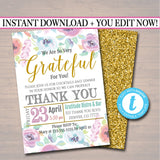 Editable Appreciation Invitation, Grateful For You Teacher Staff Invitation, Floral Printable, Boss Client Thank You, INSTANT DOWNLOAD