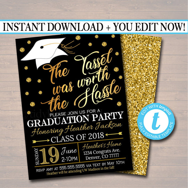EDITABLE Graduation Party Invitation, High School Graduation Invitation, DIY Digital Invite, College Graduation Invitation, Graduation Decor