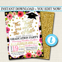 Graduation Invitation, Floral Printable, Woman Girl College Graduate Grad Party Invite High School Senior Graduate