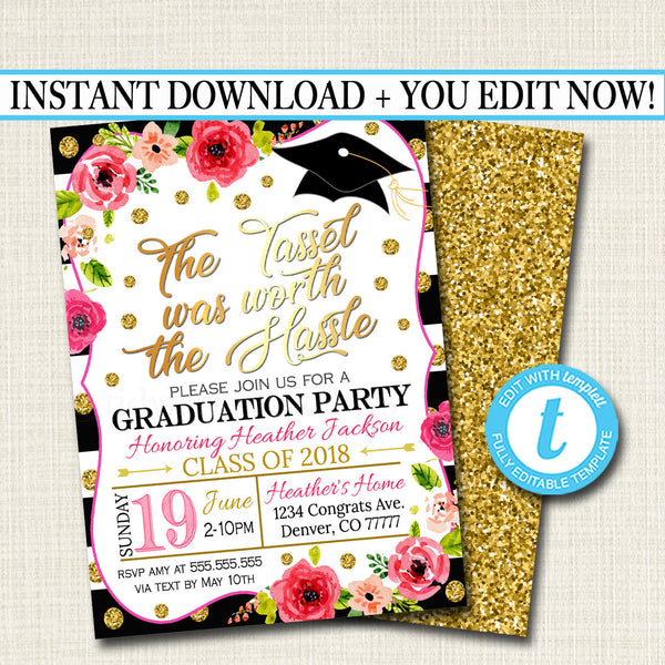 Editable Graduation Invitation, Floral Printable, Woman Girl College Graduate Grad Party Invite High School Senior Graduate INSTANT DOWNLOAD