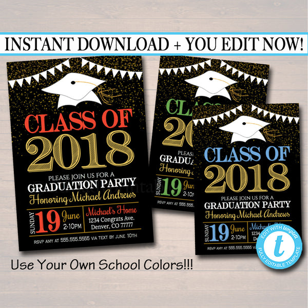 Any Year Editable Graduation Invitation Custom School Colors Printable Digital College Grad Invite, Guy, Man Senior Grad Party Announcement