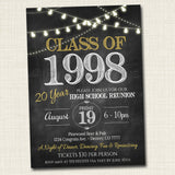 Reunion Invitation Template - Any Year!  College Reunion, High School Reunion Party Lights Faux chalkboard invite