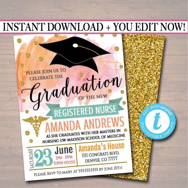 Medical Graduation Invitation Watercolor Printable Woman Female Professional, Nurse College Graduate Party Invite