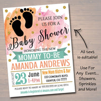 EDITABLE Baby Shower Invitation, Baby Sprinkle Party Invite, Watercolor Boho Chic Gold Glitter, Couples Shower, Brunch Baby INSTANT DOWNLOAD