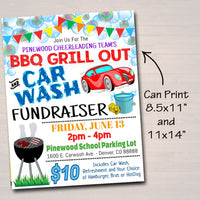 EDITABLE Car Wash Fundraiser Flyer Ticket Set, pto pta, Church Charity Community School Benefit Event, Bbq Picnic Grill Out INSTANT DOWNLOAD