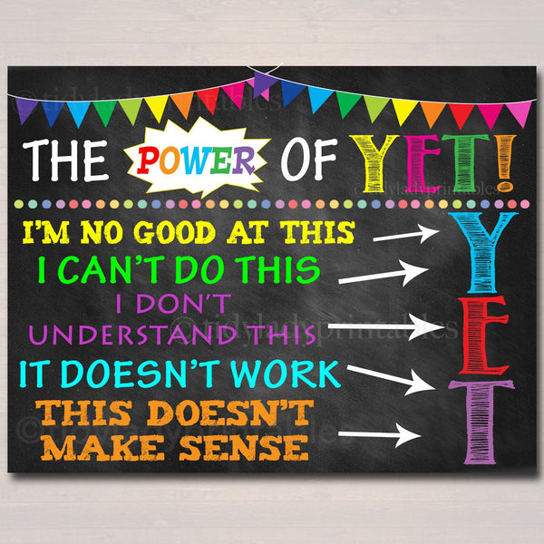 The Power of Yet Printable Poster, Growth Mindset, INSTANT DOWNLOAD, Motivational Wall Art, School Office Classroom Decor Teacher Chalkboard