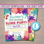 EDITABLE Slime Party Birthday Invitation, Slime Mad Scientist Kids Party Invite Birthday Digital Invite Girl's Slime Party, INSTANT DOWNLOAD