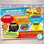 EDITABLE Superhero Teacher Appreciation Week Itinerary Poster, Digital File, Appreciation Week Schedule Events, INSTANT DOWNLOAD Printables