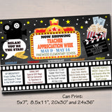 EDITABLE Teacher Appreciation Week Itinerary Poster, Digital File, Cinema Movie Star Themed Week School Events, INSTANT DOWNLOAD Printables