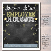 EDITABLE Employee of the Quarter Printable, Office Printable, Boss, Manager, Office Worker, INSTANT DOWNLOAD, Management, Office Decoration
