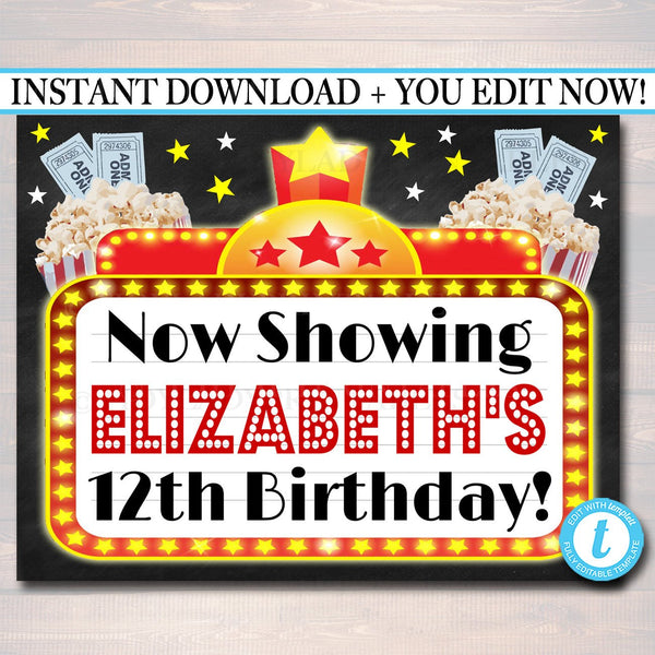 EDITABLE Movie Marquee Personalized Printable Sign, Hollywood Themed Decor, Digital File, Cinema Movie Star Birthday Party, INSTANT DOWNLOAD