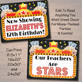 Movie Marquee Personalized Printable Sign, Hollywood Themed Decor,  File, Cinema Movie Star Birthday Party,