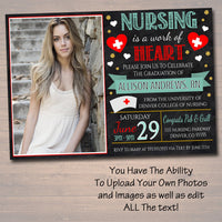 Editable Nurse Graduation Invitation Chalkboard Printable Digital College Grad Invite Graduation Party, RN Doctor Nursing is a Work of Heart