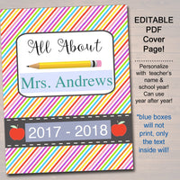 EDITABLE Teacher Gift, End of School Year About Me Page INSTANT DOWNLOAD Printable Teacher Appreciation Teacher Gift From Student Class Book