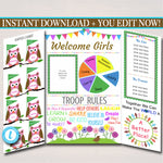 Brownie Kaper Chart & Meeting Display Board INSTANT + EDITABLE Brownie, Troop Leader, Brownie Meetings, Printable Welcome Panel, Owl Design