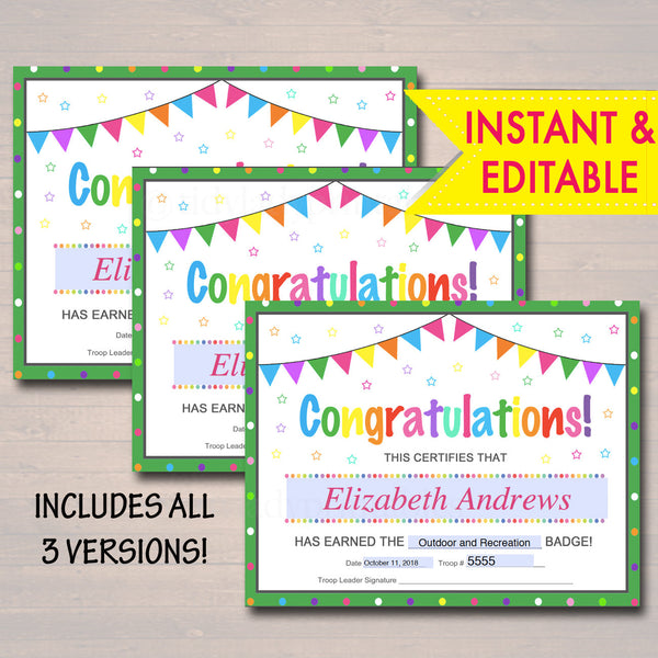 EDITABLE Certificates, Badge, Patch and Award Certificate Templates, INSTANT Download, Brownie, Junior Troop Leader, Scout Printables Daisy