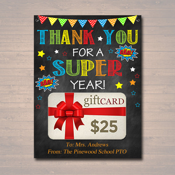 EDITABLE Teacher Gift, End of School Year Superhero Gift Card holder, INSTANT DOWNLOAD, Printable Teacher Appreciation, Gift From Student