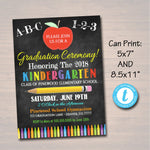 Editable Graduation Invitation Chalkboard Printable Kindergarten Preschool Pre K Graduate School Graduation Ceremony Invite INSTANT DOWNLOAD