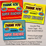 Superhero Theme Teacher Appreciation Favor Tags - Printable