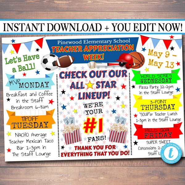 EDITABLE Sports All Star Vip Teacher Appreciation Week Itinerary Poster, Digital File, Appreciation Week Schedule Events, INSTANT DOWNLOAD