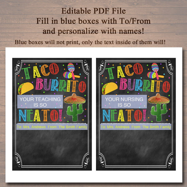 photo relating to Printable Teacher Appreciation referred to as EDITABLE Fiesta Reward Card Holder, Trainer Present, Staff members Taco Burrito Present, Prompt Down load, Printable Instructor Appreciation, Present In opposition to College student