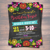Editable Fiesta No Time To Siesta Birthday Invitation Chalkboard Printable Adult Kid's Birthday Party, Foral Female, INSTANT DOWNLOAD