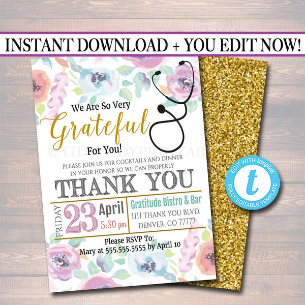 Appreciation Invitation, Grateful For You Nurse Hospital Staff Invitation, Floral Printable, Medical Thank You