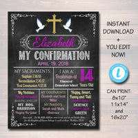 EDITABLE Confirmation Chalkboard Poster, Religous Christian Sacrament Party Decor Girl First Communion Baptism Sign Digital INSTANT DOWNLOAD
